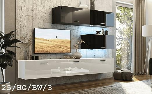 HomeDirectLTD Moderno Conjunto de Muebles de salón Concept 25, Muebles para Sala de Estar, Modernos Muebles modulares con Iluminación LED Opcional (25_HG_BW_3, LED 16 Colores): Amazon.es: Hogar