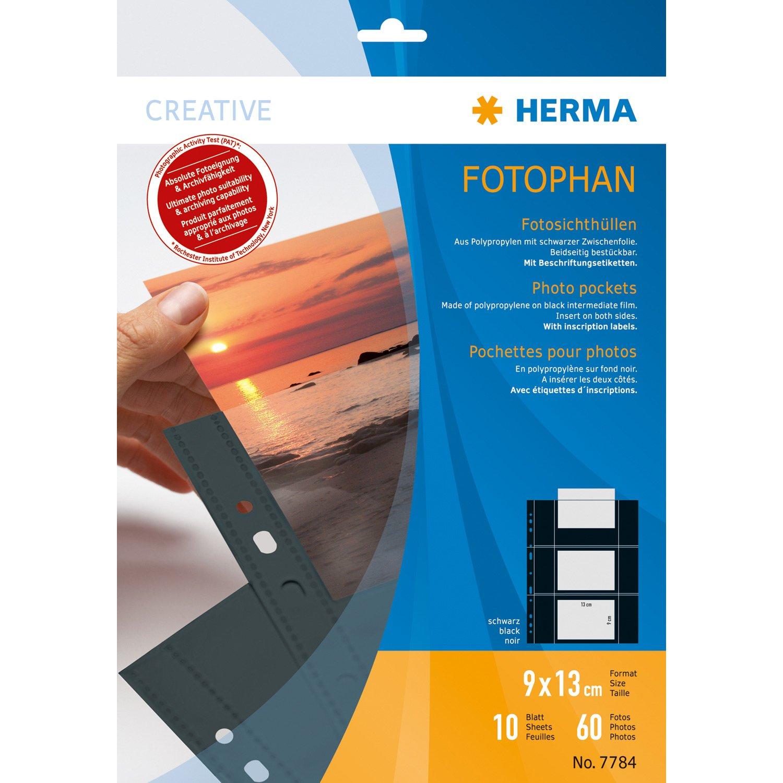 protezione di fogli/ , ritratto, 230/mm, 310/mm /Protettori di fogli S 10pi/èce Herma 7784/90/x 130/mm Polipropilene PP PP 90/x 130/mm, Nero, Trasparente, in polipropilene