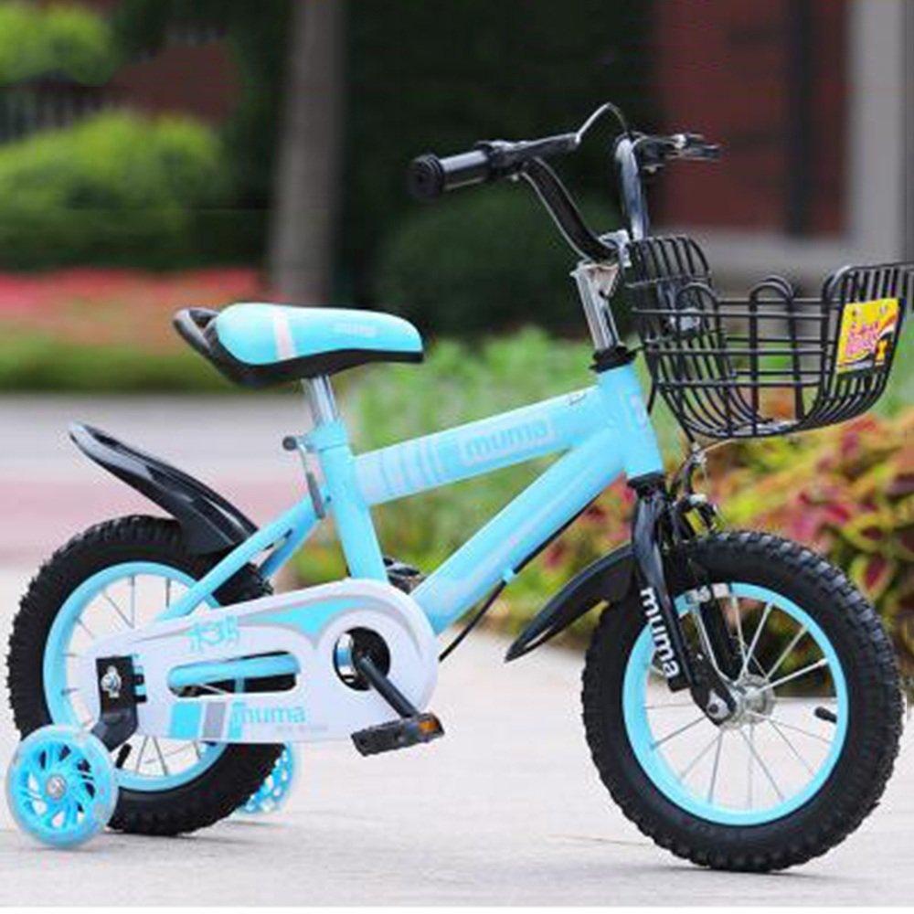 YANGFEI 子ども用自転車 ボーイズキッズバイクグリーン/ブルー/レッド/イエロー12インチ、14インチ、16インチ、18インチ 212歳 B07DWYQ761 14 inch|青 青 14 inch