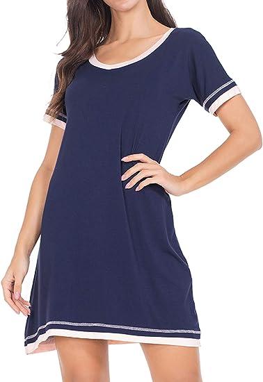 MAXMODA Women/'s Soft Nightgown Sleepwear Printed Short Sleeve Scoopneck Sleep