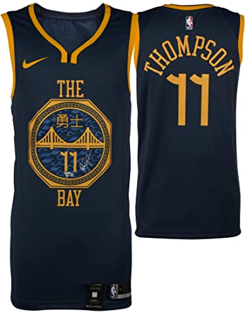 5d14f22a0356 ... cheap klay thompson golden state warriors autographed navy nike 2018 19 city  edition swingman jersey fad64