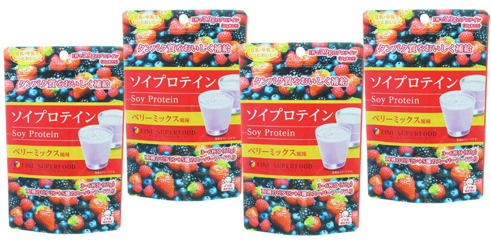 FINE JAPAN Soy Protein 60 g (6-Day Course / 4 Packs) Berry Mix