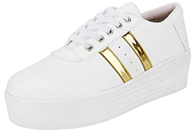 Maddy White Gold Sneaker Shoes for Women in Various Sizes  Buy Online at  Low Prices in India - Amazon.in 0586eb6224ab