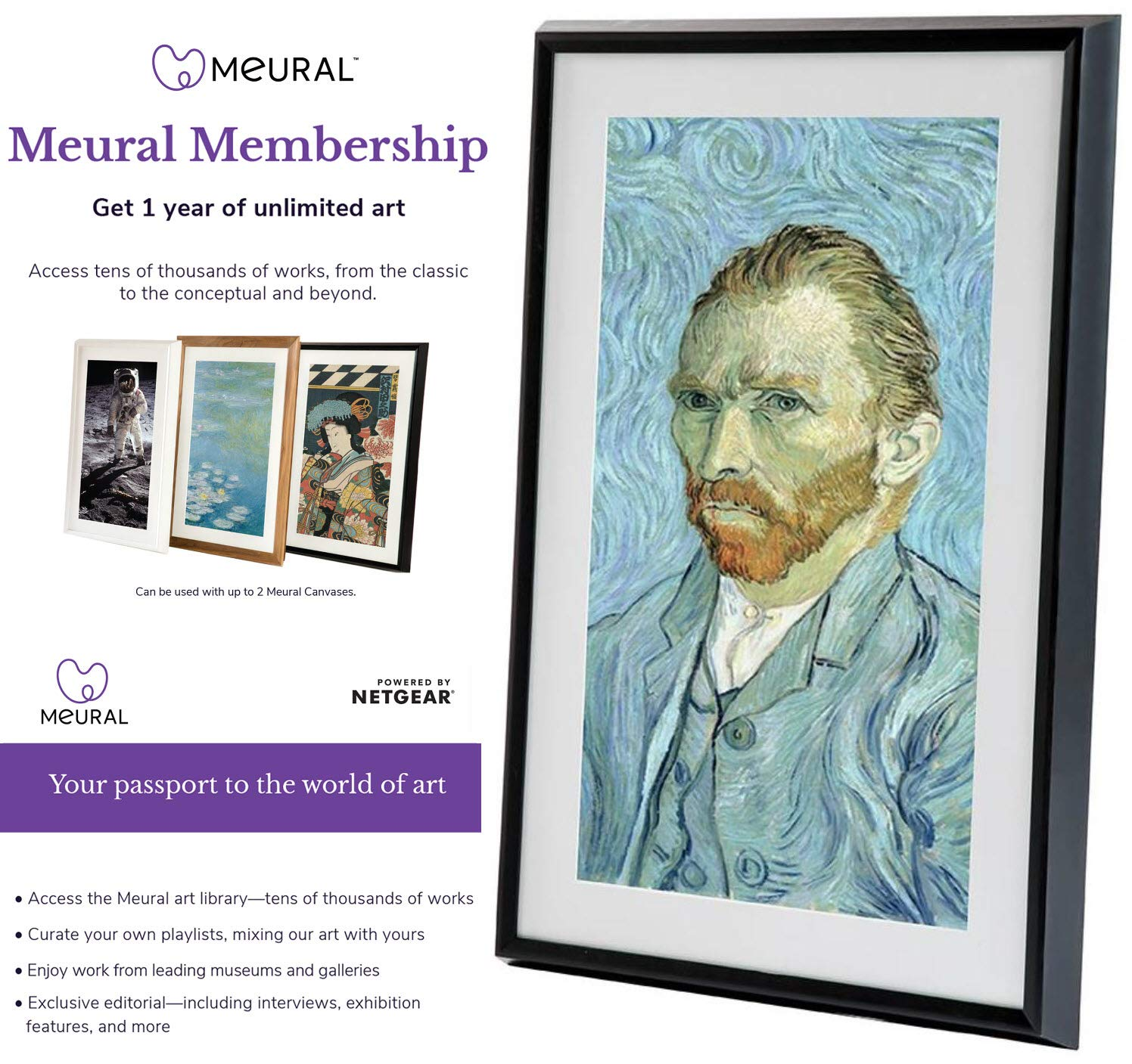 Meural Canvas - Smart Digital Frame | Digital Art Display | Leonora Black | 27 inch HD Display with WiFi | Includes One-Year Membership Subscription to Art Library | Powered by NETGEAR (MC227BL)