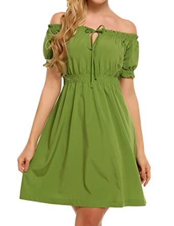 c6bbecc4b13f Beyove Women Sexy Off The Shoulder Ruffle Slim Fit Cocktail Party Midi Dress  Green S