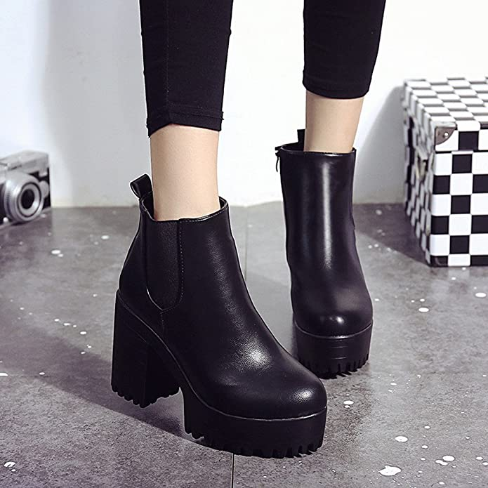 Amazon.com | Theshy Women Boots Square Heel Platforms Leather Thigh High Pump Boots Shoes Boots for Women Womens Shoes | Boots