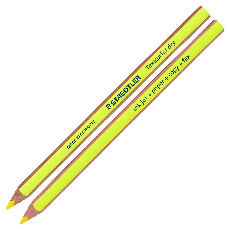 Staedtler Textsurfer Dry Highlighter Pencil for Writing Sketching Inkjet, paper, copy,fax (pack of 12)color Mix + Tub 2-Hole Sharpener by Staedtler/Germany (Image #9)