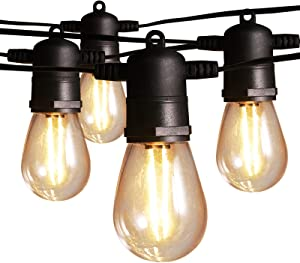Ltteny Outdoor String Lights, 48FT Patio Lights with 15+3 Shatterproof LED Bulbs, 2700K Soft Bright, IP65 Waterproof, UL Listed, Connectable Hanging Lights for Backyard Porch Party Garden Decor