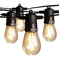 Guirnaldas Luces Exterior Luminosas 15 metros, Ltteny LED IP65 G40 Cadena de Luz con 15+3(Bombillas de Repuesto…