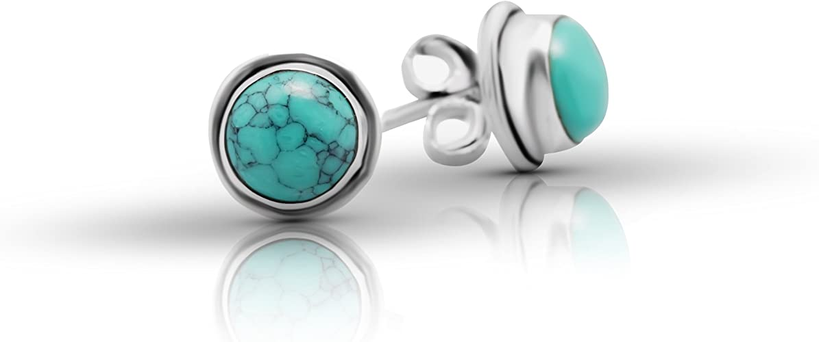 Synthetic Turquoise Vintage Gipsy Stud Earrings 925 Sterling Silver Tribal Boho Chic Jewelry