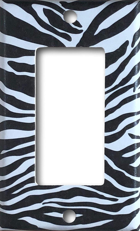 Black and White Zebra Design Decorative Decora//Rocker//GFCI Light Switch//Outlet Wall Plate Cover