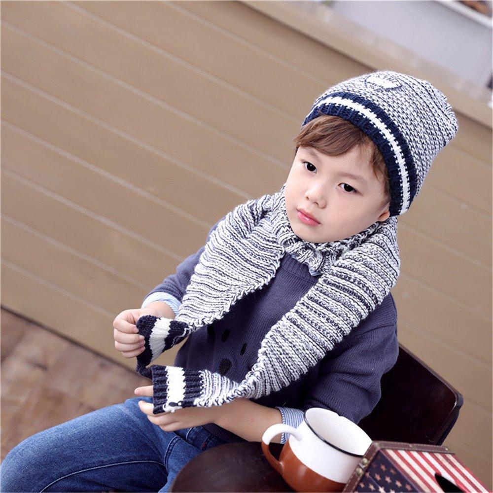 Boys Warm Winter Scarf Hat Set Knitted Hat Cap 2Pcs