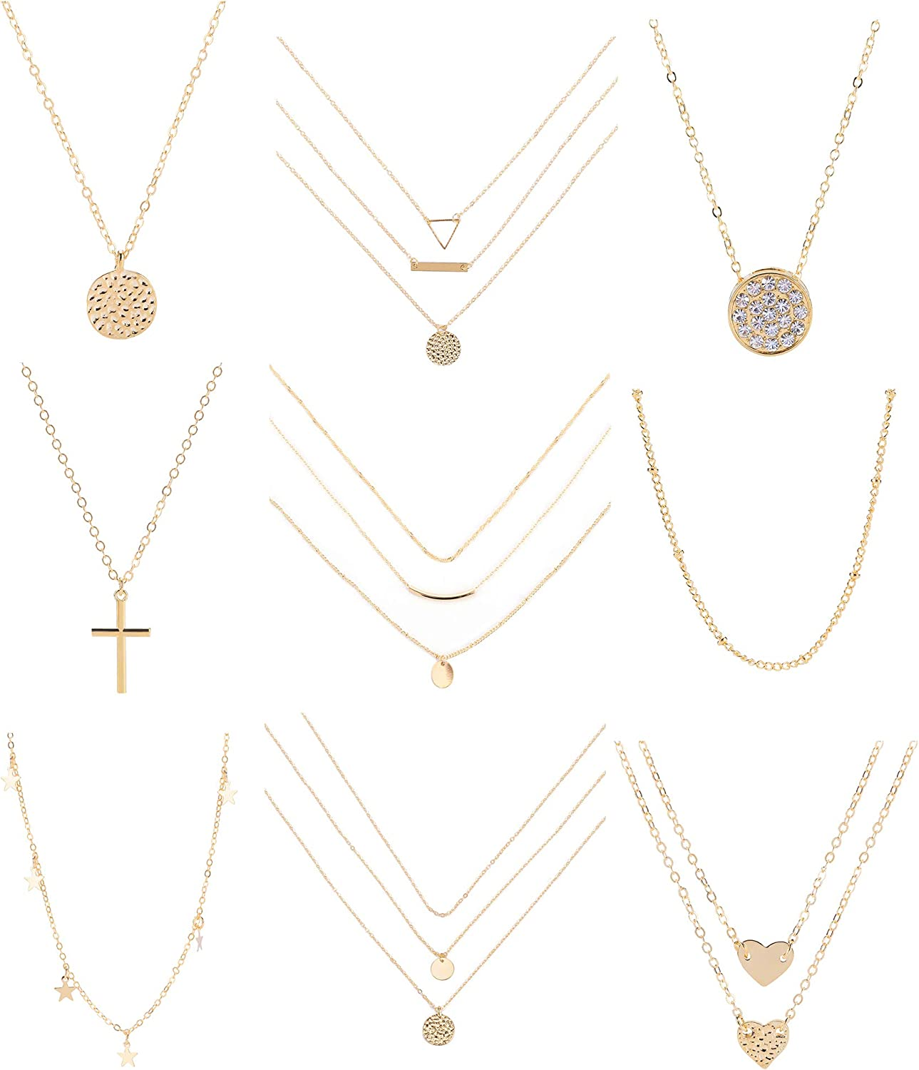 Layered Cross//Circle Charm Necklace Set