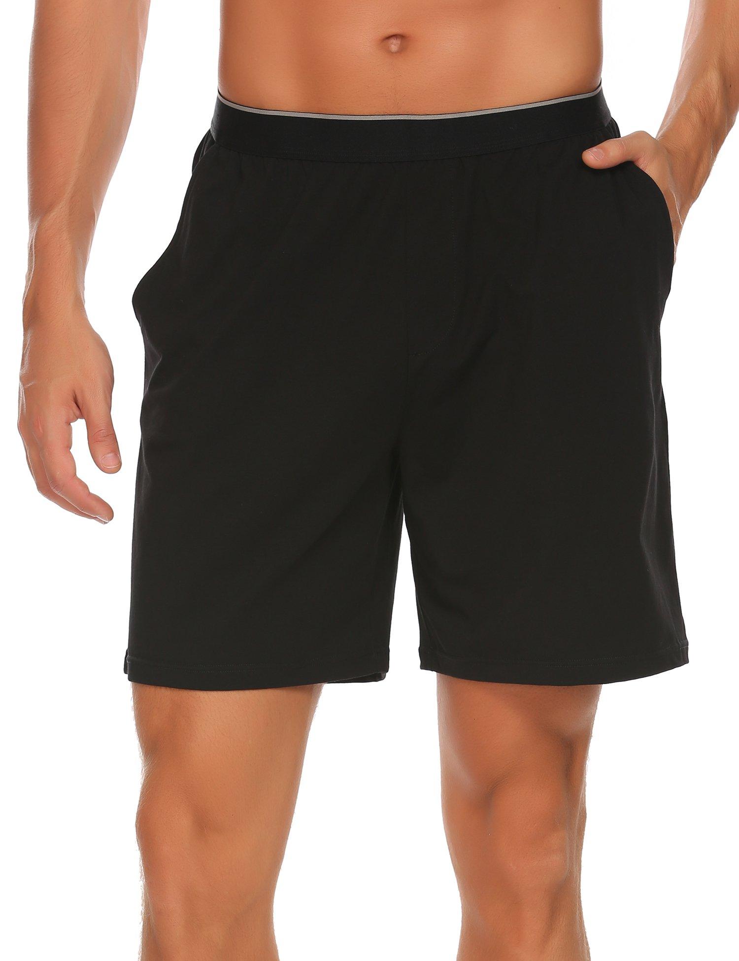 Goldenfox Men's Casual Classic Fit Gym Short Cotton Knit Pajama Lounge Sleep Pants (Black, Small)