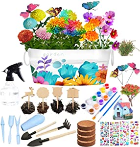 TNOYMIV Kids Flower Paint Planting Growing Kit, Kids STEM Gardening Science Gifts for Girls Boys Ages 4 5 6 7 8 9 10,Arts Crafts DIY Set Grow Pompon Mum,Livingstone Daisy,Marigold &Cosmos Flowers