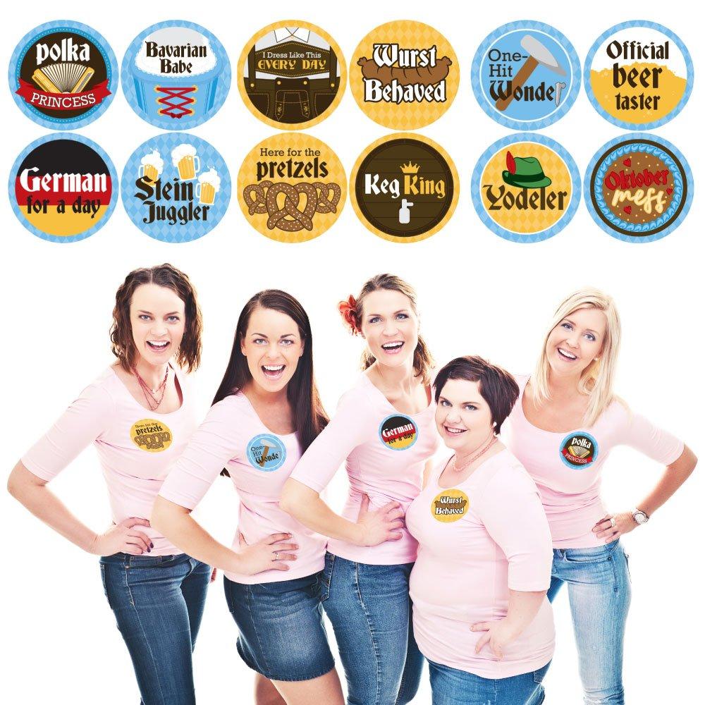 Oktoberfest - German Beer Festival Funny Name Tags - Party Badges Sticker Set of 12