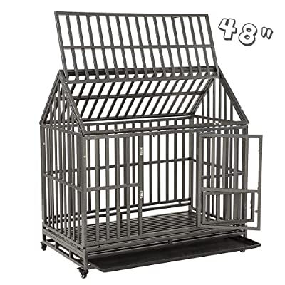 """SMONTER 48"""" Heavy Duty Strong Metal Dog Cage House Shape Pet Kennel Crate Playpen"""