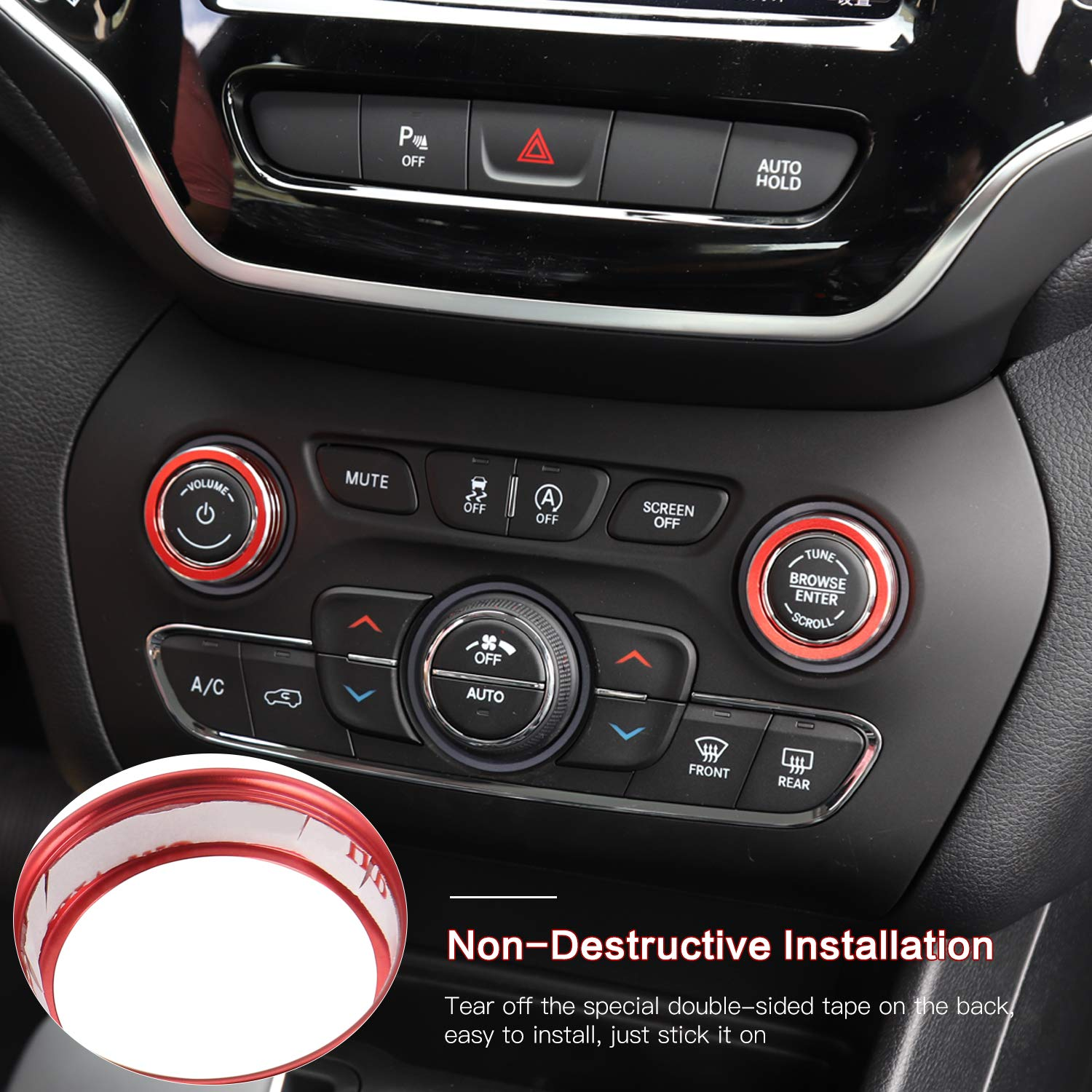 2pcs//Set Dodge Durango 2014-2015 for Jeep Grand Cherokee 2014-2020 Red Aluminum Alloy Interior Decoration Accessories CheroCar Radio A//C Knobs Switch Button Cover for for Jeep Cherokee2014-2020