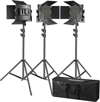 Todo para el streamer: Neewer Kit de 3 Luces Video 660 LED Iluminación Fotografía con Soporte: Regulable 3200-5600K CRI96 + Panel LED, 200cm Soporte Luz de Calidad Prima para Estudio Youtube Video