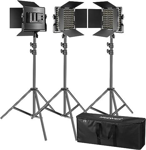Neewer Kit de 3 Luces Video 660 LED Iluminación Fotografía con Soporte: Regulable 3200-5600K CRI96 + Panel LED, 200cm Soporte Luz de Calidad Prima para Estudio Youtube Video: Amazon.es: Electrónica