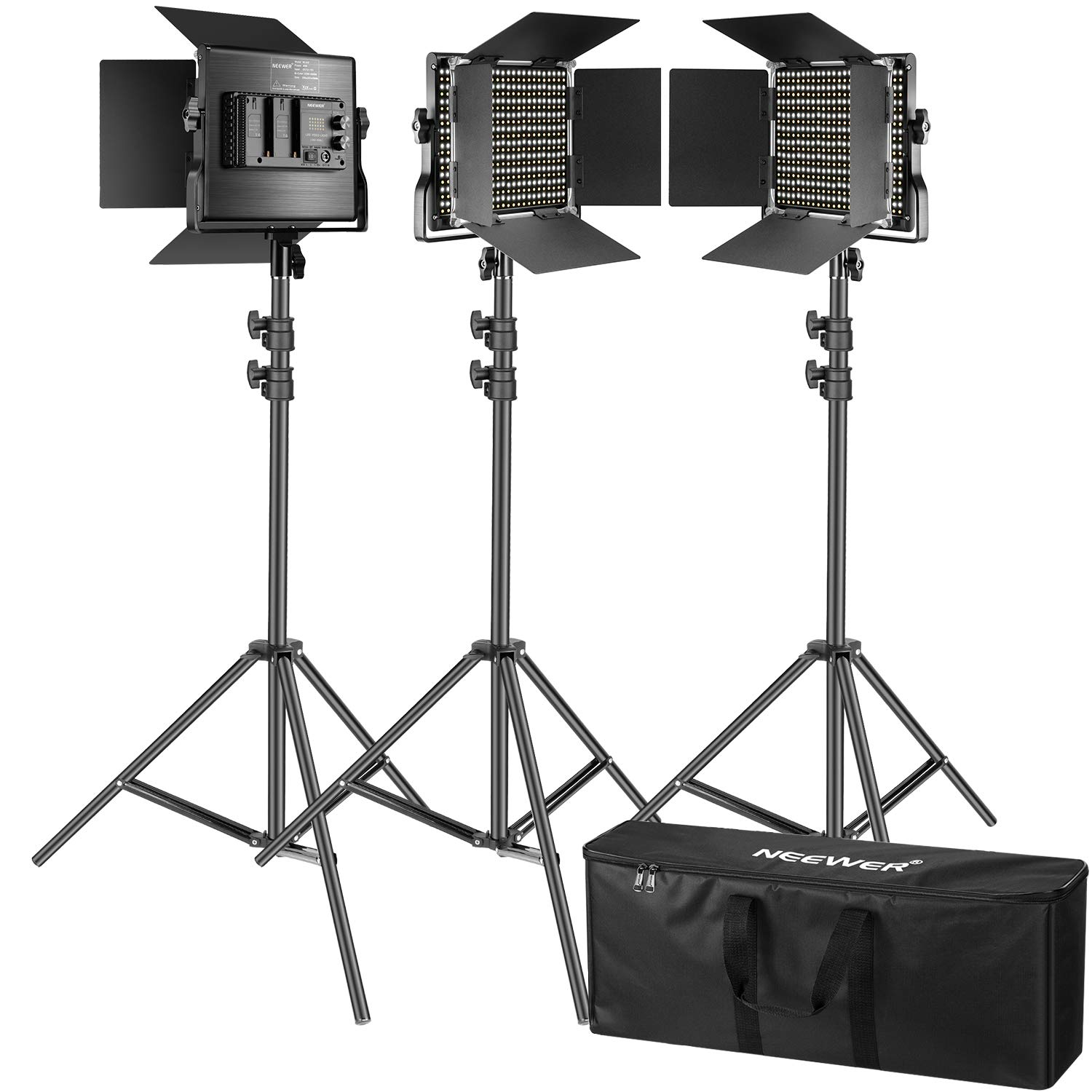Neewer 3 Packs 660 LED Video Light Photography Lighting Kit with Stand: Dimmable 3200-5600K CRI96+ LED Panel, Premium 200cm Light Stand for Studio YouTube Video Outdoor Shooting by Neewer