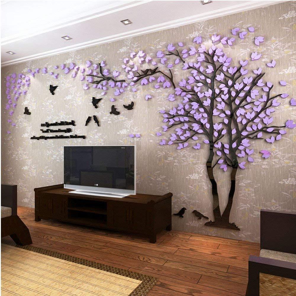 Albero Adesivo da Parete M-250 * 130cm, Verde Sinistra Alberi e Uccelli 3D Adesivi Murali Arts Wall Sticker Decorativi per TV Par