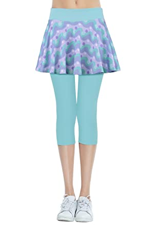 cf10825ac50b6 Amazon.com: HonourSport Women Skirted Leggings Capris Running Skirt ...