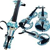Violín eléctrico, de Aliyes, ALKIT-004, de madera, tamaño completo 4/4, intermedio o avanzado, silencioso, diseño con flores, color azul y blanco , ALDSZA-1201
