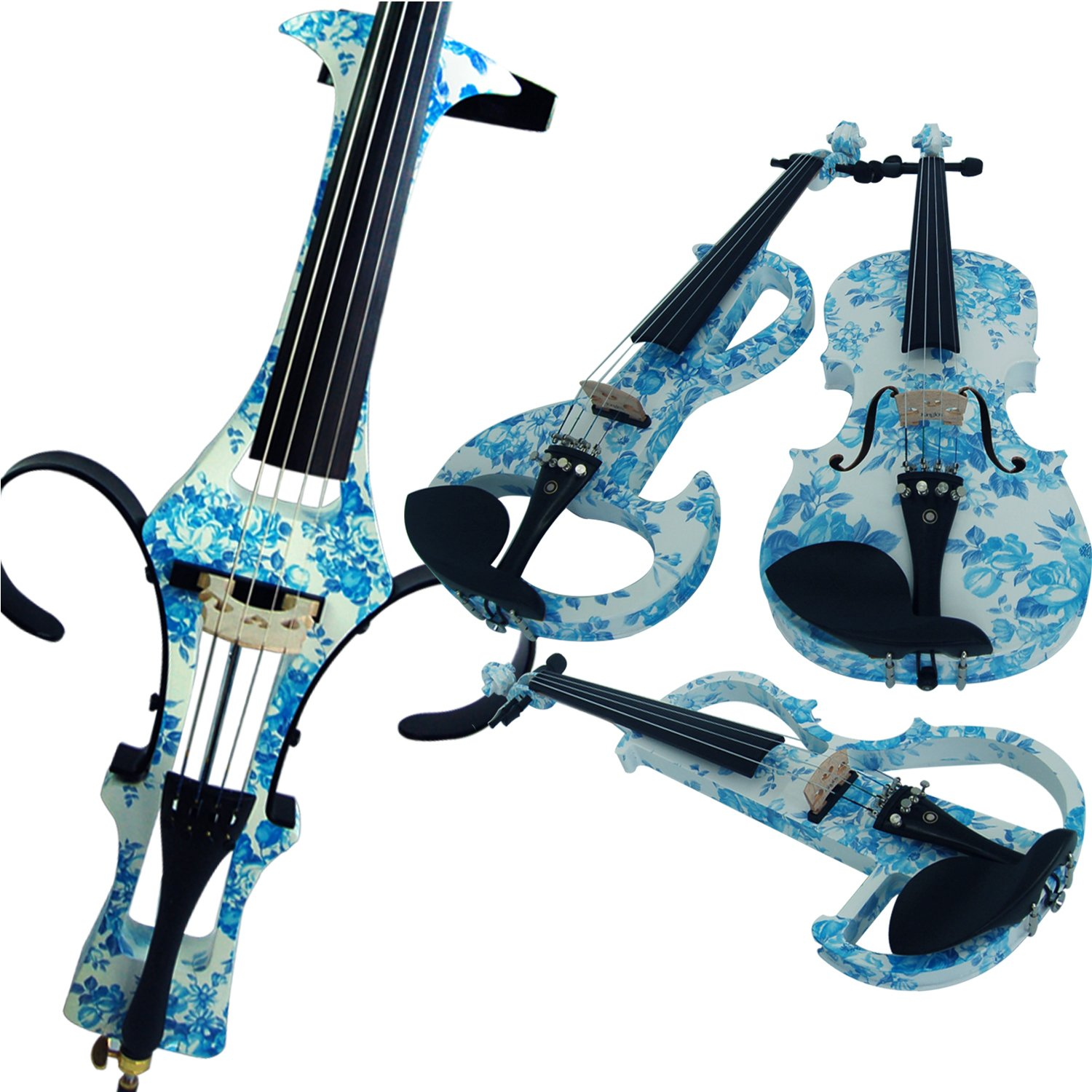 Aliyes Wood Electric Violin Full Size 4/4 Intermediate-A Electric Silent White& Blue Flowers Violin Kit With Case, Bow, Rosin, headphones, Shoulder Rest, Strings(ALDSZA-1201)