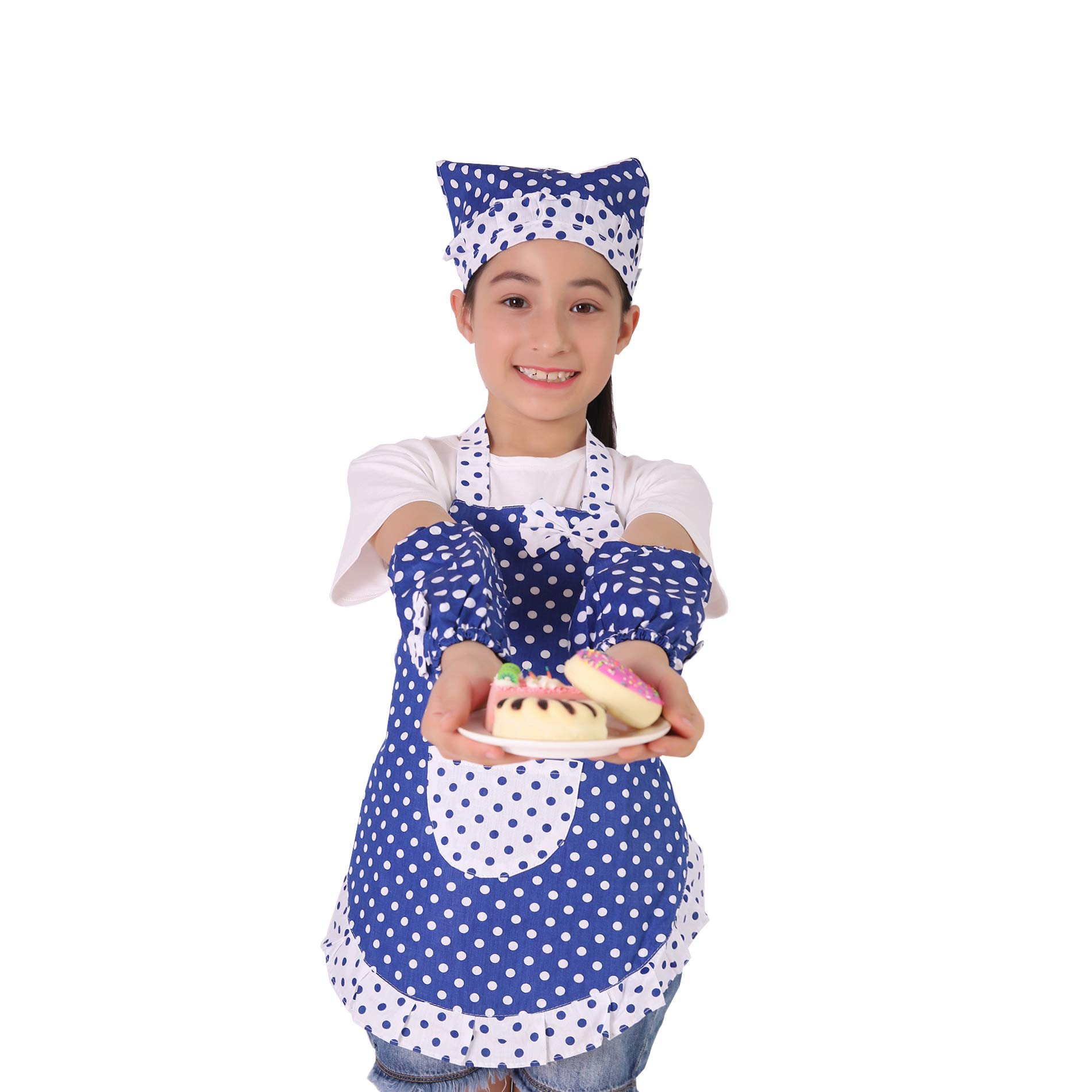 Kids Cooking and Baking Set - 3 Piece Kids\' Cooking Kits Includes Apron, Sleevelet, Headkerchief For 2 to 6 Year Old Girls or Boys (Blue)