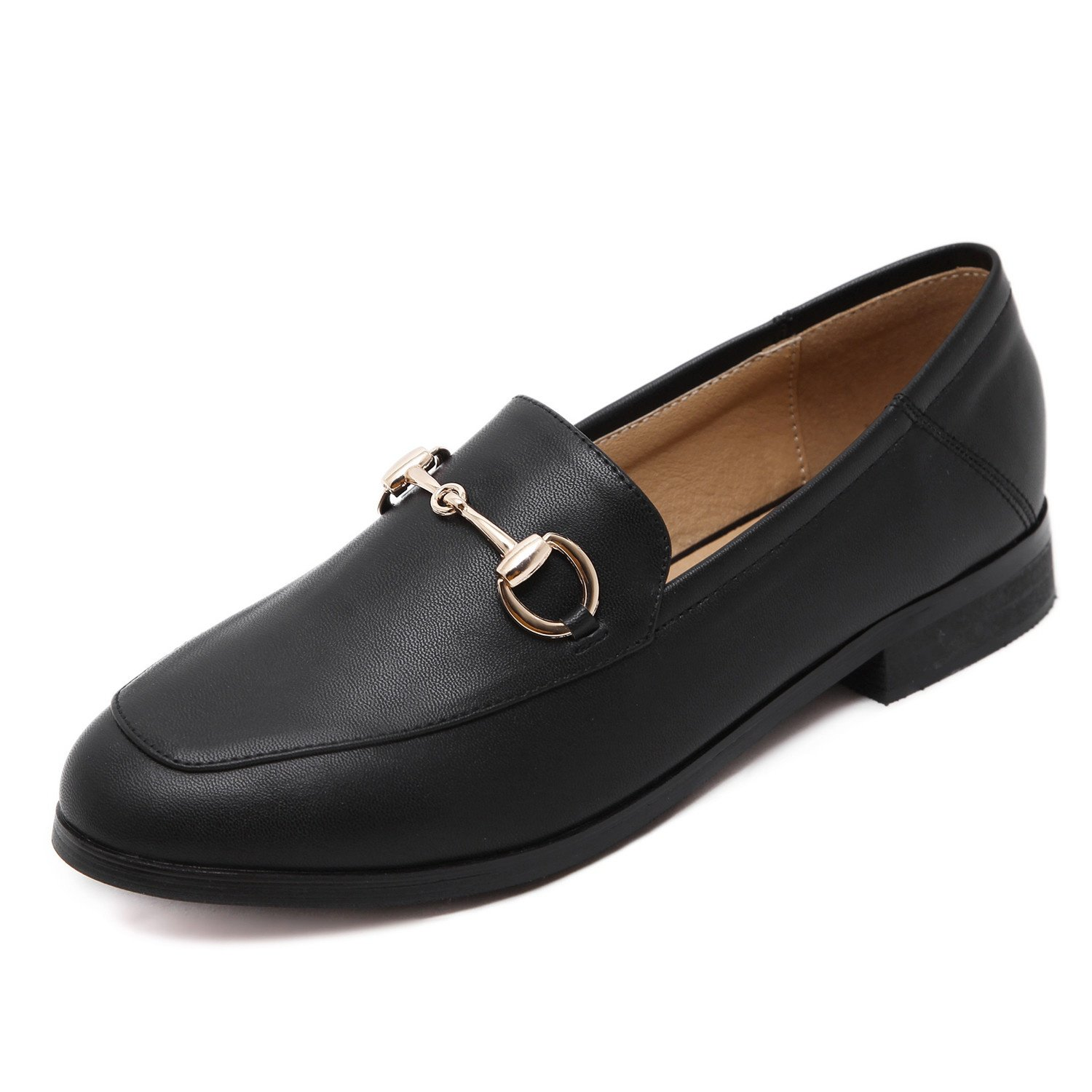 Meeshine Women's Leather Loafer Comfort Buckle Slip On Shoes(8 B(M) US,Black)
