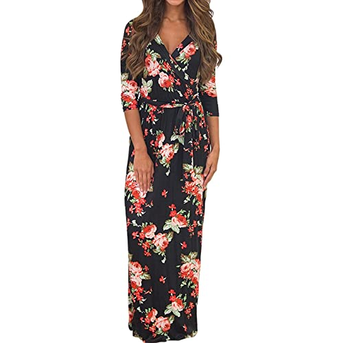 ce81683326 Women Summer Floral Boho V-Neck Evening Party Beach Dress Plus Size Ladies  Casual Long