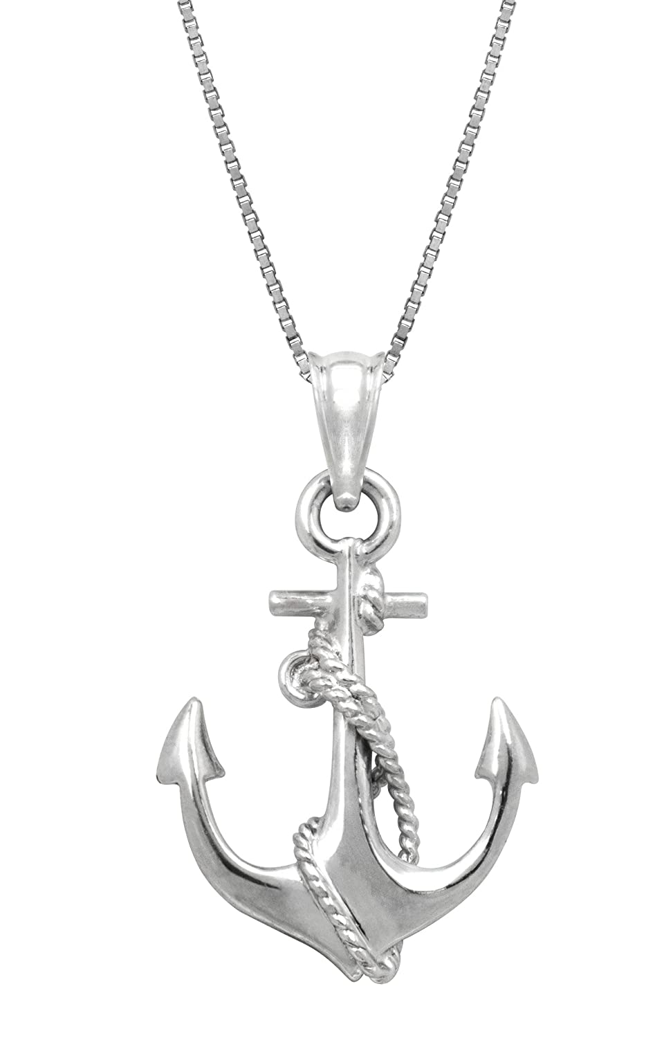 Amazon sterling silver ship anchor and rope necklace pendant amazon sterling silver ship anchor and rope necklace pendant with 18 box chain jewelry aloadofball Gallery