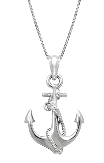 Amazon sterling silver ship anchor and rope necklace pendant sterling silver ship anchor and rope necklace pendant with 18quot aloadofball Images