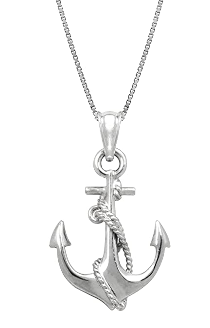 Amazon sterling silver ship anchor and rope necklace pendant sterling silver ship anchor and rope necklace pendant with 18quot aloadofball Choice Image