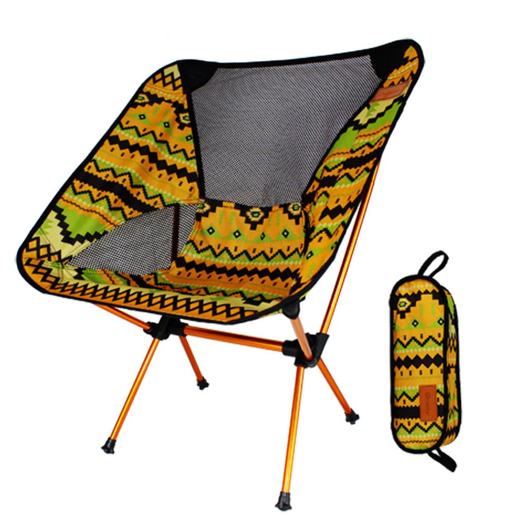 KFHSNJ Outdoor Falten Stuhl,Moon Stuhl Aluminium Legierung Camping Falten Lounge Stuhl-Gelb