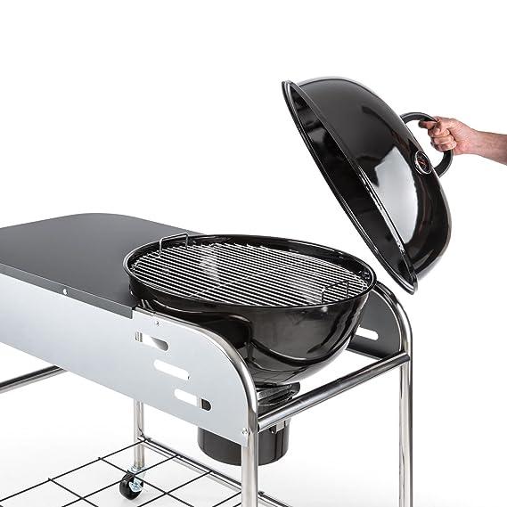 Klarstein Meatpacker XXL Barbacoa de carbón vegetal BBQ (Horno para ahumar Ø 54 cm, ahumador galvanizado, parrilla portátil, superficie preparación, ...