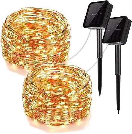 100 LED Solar Fairy String Light Copper Wire Outdoor Waterproof Garden Decor