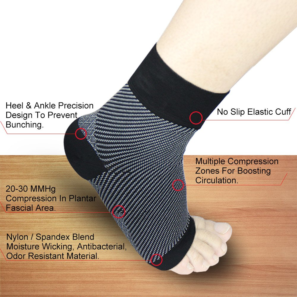 Bellamei Plantar Fasciitis Socks for Men & Women - (20-30 mmHg) Best Compression Foot Sleeves Provide Effective Relief from Plantar Fasciitis, Foot Pain, Heel Spurs, Edema, Achilles Tendonitis (M)