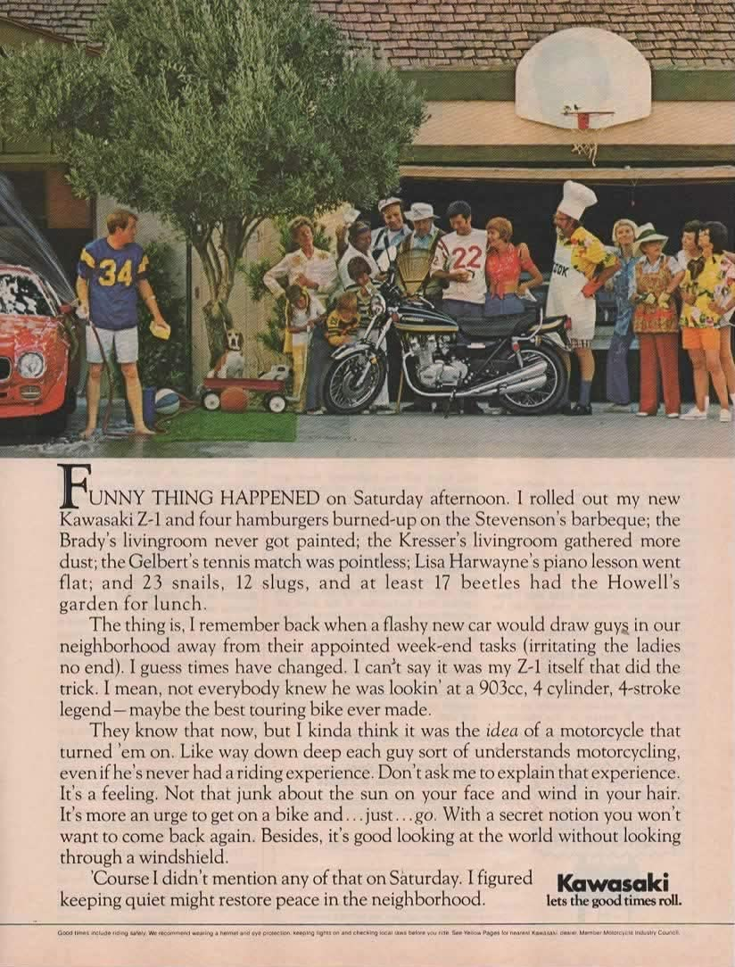 Magazine Print ad: 1975 Kawasaki Z-1 Motorcycle Touring Bike, Neighborhood scene,