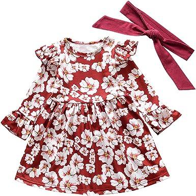 HCFKJ Ropa Bebe NiñA Invierno NiñO Manga Larga Camisetas BEB Conjuntos Moda NiñAs Princesa Floral Vestido Pelo Banda AlgodóN Ropa Conjuntos De Vestido: Amazon.es: Ropa y accesorios