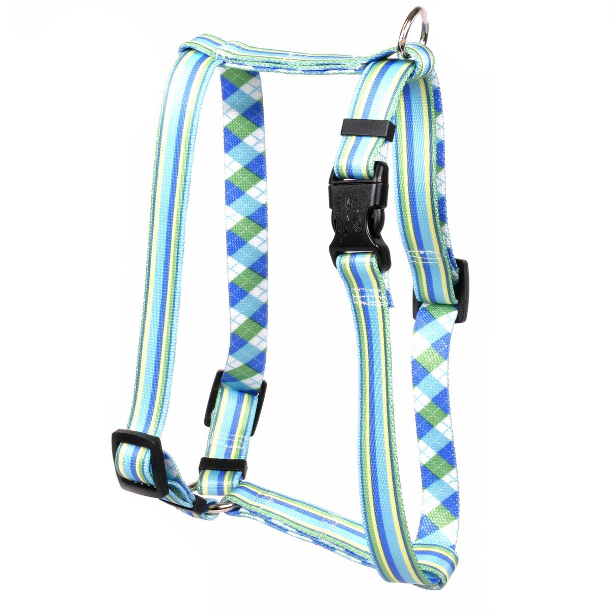 Yellow Dog Design Blue and Green Stripes Roman Style H Dog Harness, Small/Medium