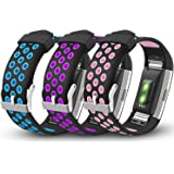 iHillon For Fitbit Charge 2 Bands, 3-Pack Soft Breathable Bands Sport Accessories Wristbands for Fitbit Charge 2 Smart Fitness Watch, Small Large (No Tracker)