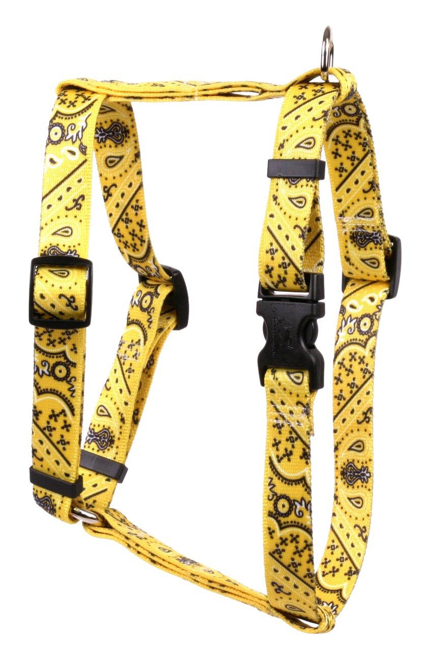 Yellow Dog Design Bandana Yellow Roman Style H Dog Harness, X-Large/1'' Wide