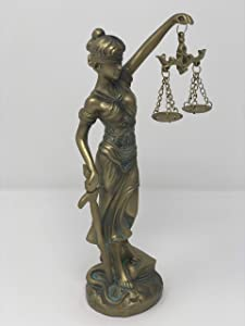 YOUNI - Lady Justice Statue - Greek Roman Goddess of Justice - Blindfold, Beam Balance, and Sword (Bronze)