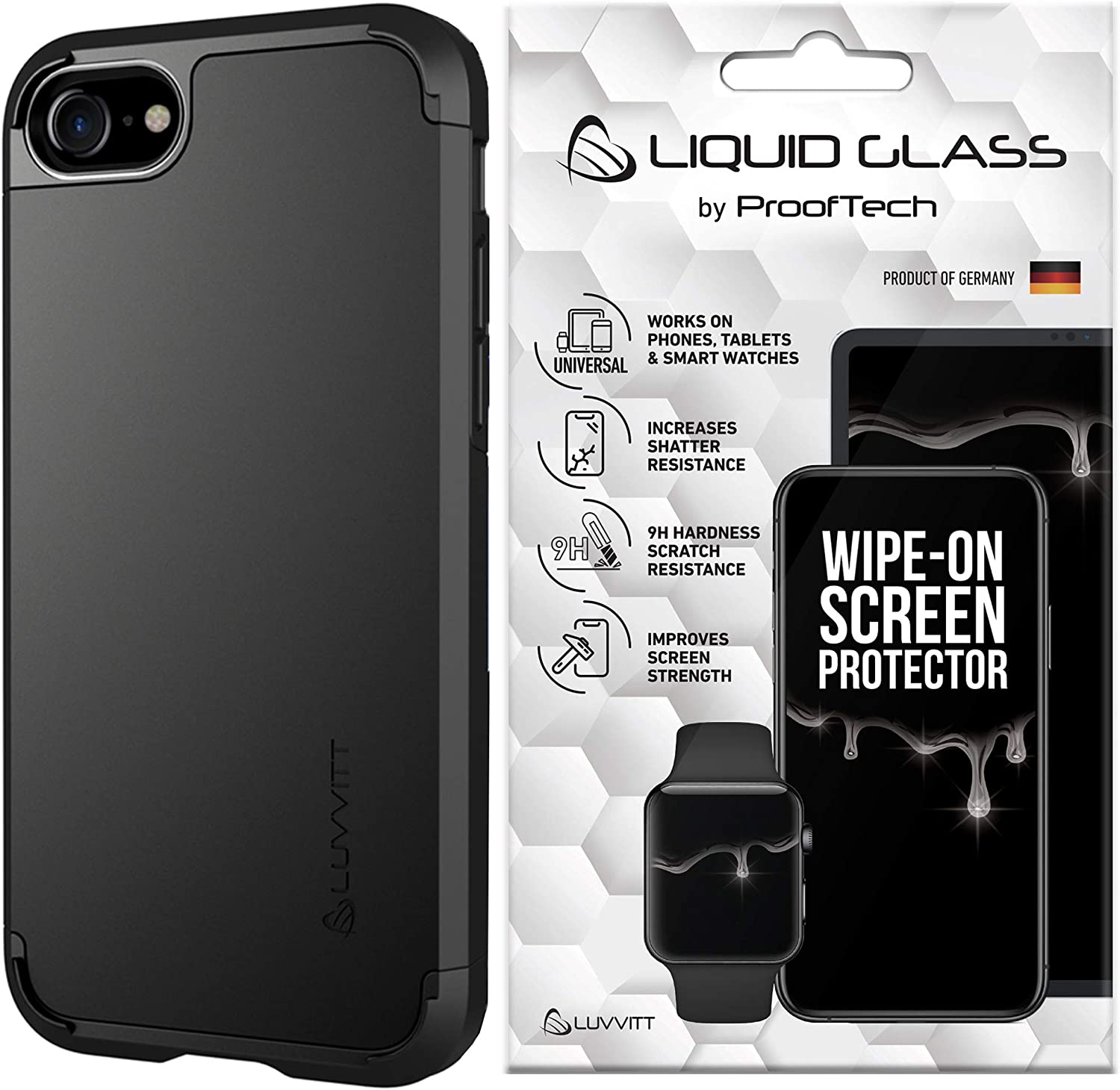 Luvvitt Ultra Armor Case and Liquid Glass Screen Protector Bundle for iPhone SE 2020 / iPhone 7 / iPhone 8 - Black