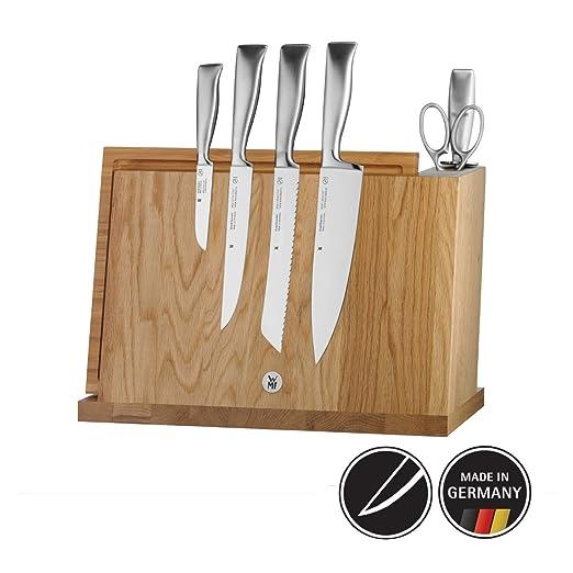 WMF Juego de cuchillos con base de madera, 4 cuchillos, tijera y afilador, colección Grand Gourmet