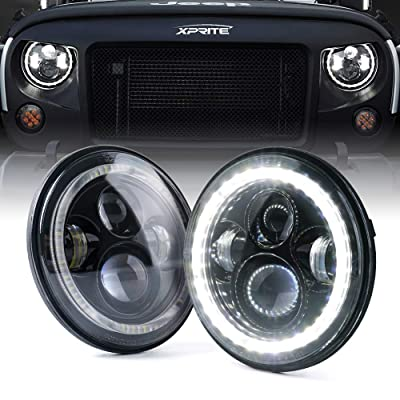 """Xprite 7"""" Inch LED Halo Headlights for Jeep Wrangler JK TJ LJ 1997-2020(DOT Approved),CREE LED Chip, 90W 9600 Lumens Hi/Lo Beam with Halo Ring Angel Eyes DRL: Automotive"""
