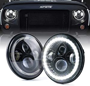 """Xprite 7"""" Inch Round Halo Headlights 90W 9600 Lumens Hi/Lo Beam LED Headlight with DRL and Turn Signal Lights Function for Jeep Wrangler JK JKU"""