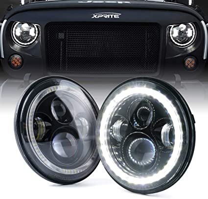 Jeep Halo Headlights >> Xprite 7 Inch Led Halo Headlights For Jeep Wrangler Jk Tj Lj 1997 2018 Dot Approved Cree Led Chip 90w 9600 Lumens Hi Lo Beam With Halo Ring Angel